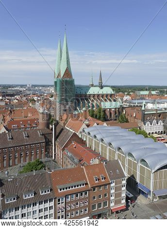 Aerial View Of The Hanseatic City Of Lübeck, A City In Northern Germany