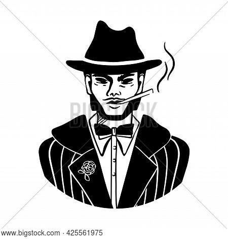 A Black Silhouette Man In A Hat Smoking Cigarette. Mafia Style Wearing Gentelman, Bow Tie, Jacket Co