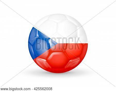3d Soccer Ball With The Czech Republic National Flag. Czech Republic National Football Team Concept.