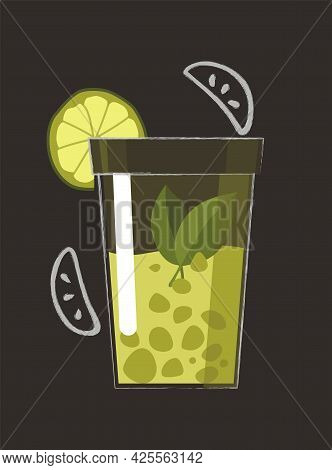 Drawn Drink. Summer Fruit Smoothie Drink With Fruit Flavor. Alcohol Cocktail. Doodle Smoothie In A J