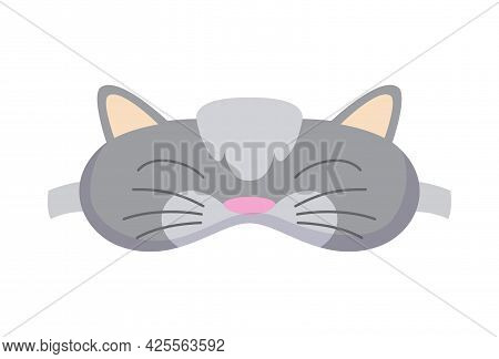 Sleep Mask In Form Of Cat. Eye Protection Accessory And Prevention Of Healthy Sleep. Blindfold Symbo