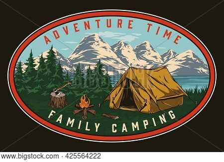 Camping Vintage Colorful Label With Tourist Tent Campfire Ax On Trees Lake And Mountains Landscape I