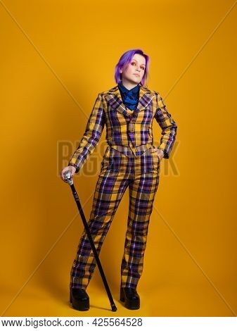 Stylish Informal Young Woman In Three-piece Suit With Decorative Walking Stick,