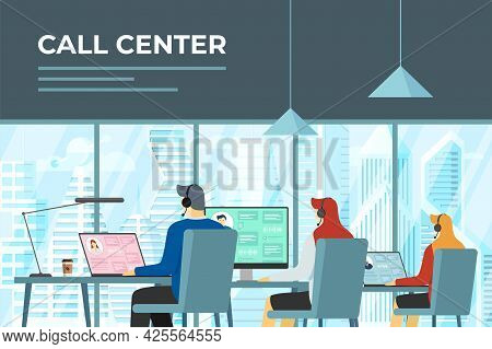 Call Centre Hotline Operators In Office. Helpline Service Workers With Headsets At Work. Online Cust