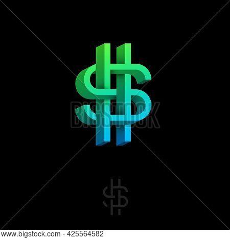 Dollar Icon. Monogram Consist Of Volumetric Elements. Crossed, Impossible Figure. Monogram For Busin