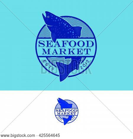 Seafood Emblem. Blue Silhouette Of Salmon Fish In Round Sign. Emblem For Seafood Market Or Restauran