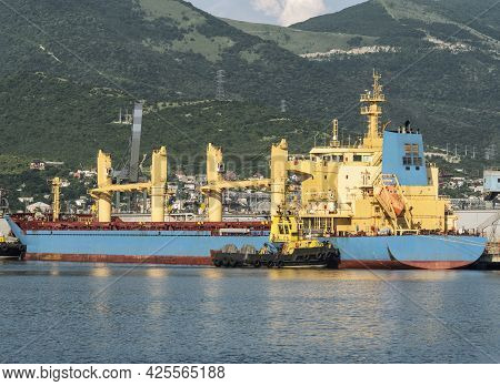 Bulk Carrier And Tug Boat In Sea Port