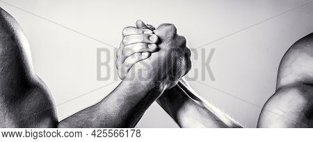 Rivalry, Closeup Of Male Arm Wrestling. Two Hands. Men Measuring Forces, Arms. Hand Wrestling, Compe