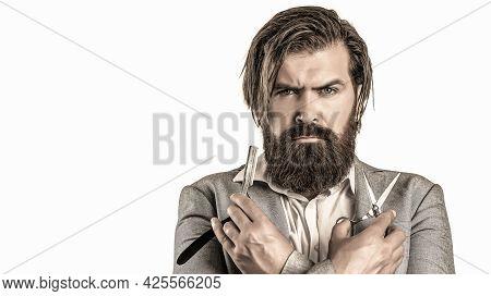 Portrait Of Stylish Man Beard. Barber Scissors And Straight Razor, Barber Shop. Vintage Barbershop,