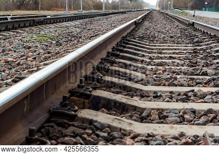 Railway Station. Different Directions Of Railroad Tracks. Railroad Tracks. Branches Of Rails.