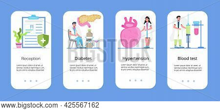 Diabetes Mellitus App Vector. Illustration Of Type 2 Diabetes And Insulin Production Concept Vector.