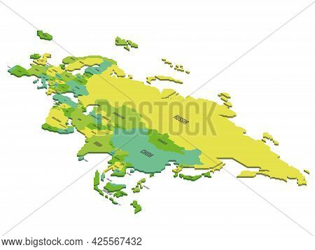Isometric Political Map Of Eurasia. Colorful Land With Country Name Labels On White Background. 3d V