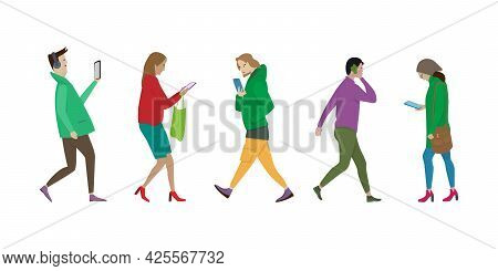 Isolated People Walking Side View. People Use Their Phones Differently While Walking. Set Of Vector