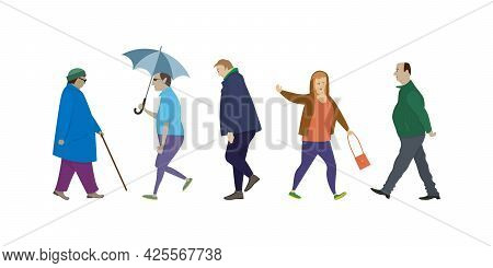 Isolated Elderly People Walking Side View. Cartoon People In Different Poses While Walking. Set Of V