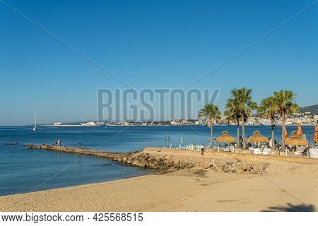Palma De Mallorca, Spain; June 25 2021: General View Of Can Pere Antoni Beach With The City Of Palma