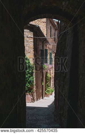 View Of The Characteristic Alleys Of The Famous Town Of Pienza