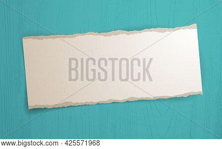 Blank Paper Sheet Memo Over Wooden Background Vector Realistic Illustration, Design Element For Mess