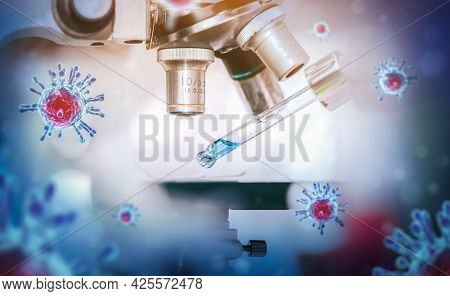 Scientist In Biohazard Protection Clothing Analyzing Covid 19 Sample With Microscope And Holding Cor