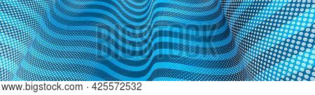 Vector Abstract Blue Dotted Texture And Lines Background With Dimensional Perspective, Technology An