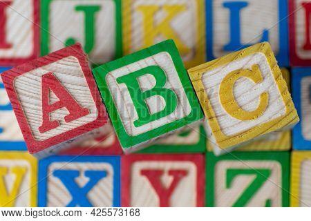 Abc Alphabet Block In Other Block. Kid Education Concept.
