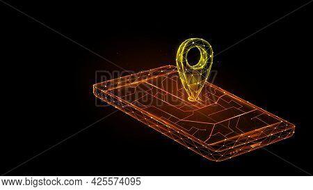 Polygonal Vector Illustration Of Mobile Gps Navigation On A Black Background. Smartphone And Pointer