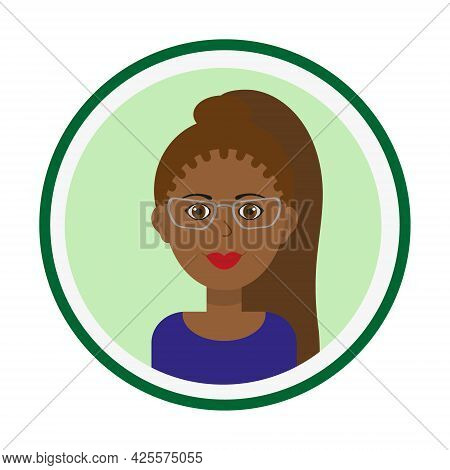 Female Avatar. Cute Black Woman Portrait On Green Background. Smiling Girl Face With Brown Long Pony