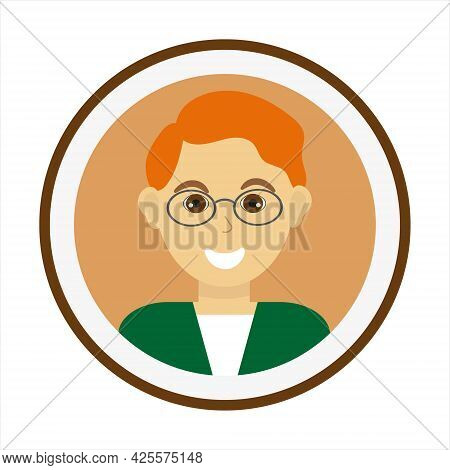 Smiling Man Face With Red Hair And Wearing Glasses. Male Face. Man Avatar. Handsome Man Portrait. Is