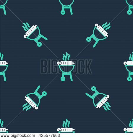 Line Barbecue Grilled Shish Kebab On Skewer Stick Icon Isolated Seamless Pattern On Black Background