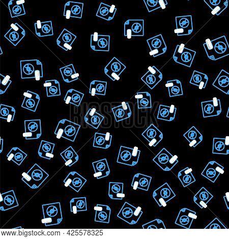 Line Wma File Document. Download Wma Button Icon Isolated Seamless Pattern On Black Background. Wma