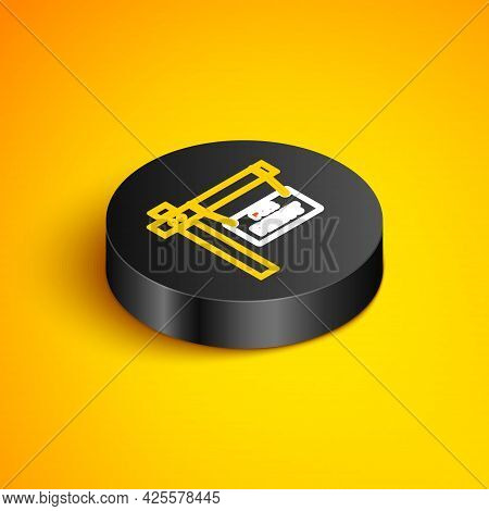 Isometric Line Hanging Sign With Text For Rent Icon Isolated On Yellow Background. Signboard With Te