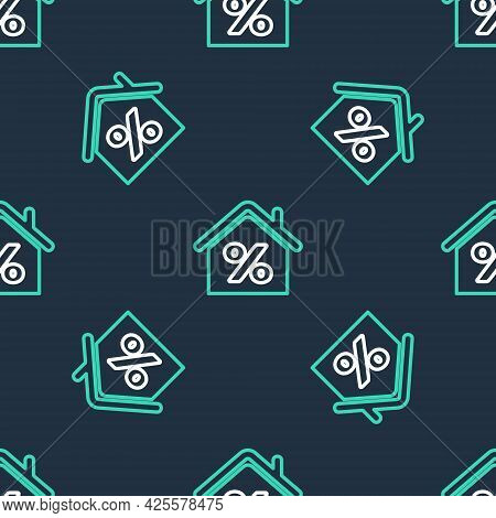 Line House With Percant Discount Tag Icon Isolated Seamless Pattern On Black Background. House Perce