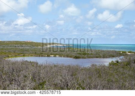 The Aerial View Of Grand Turk Flat Landscape With A Lagoon And Caribbean Sea (turks And Caicos Islan