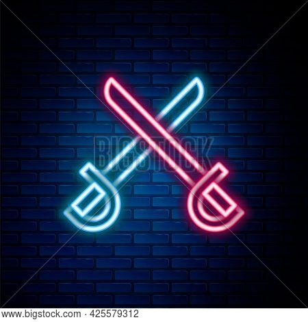 Glowing Neon Line Crossed Pirate Swords Icon Isolated On Brick Wall Background. Sabre Sign. Colorful