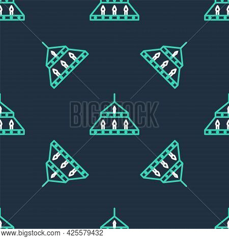 Line Massive Steel Chandelier With Candles In Medieval Icon Isolated Seamless Pattern On Black Backg