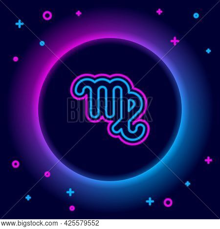 Glowing Neon Line Virgo Zodiac Sign Icon Isolated On Black Background. Astrological Horoscope Collec
