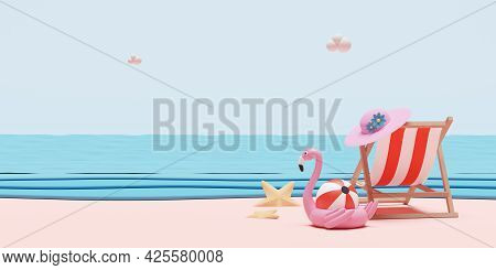 Summer Beach And Sky With Beach Chair, Ball ,inflatable Flamingo,hat,starfish,landscape Background C