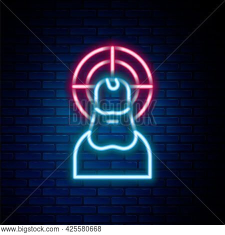 Glowing Neon Line Jesus Christ Icon Isolated On Brick Wall Background. Colorful Outline Concept. Vec