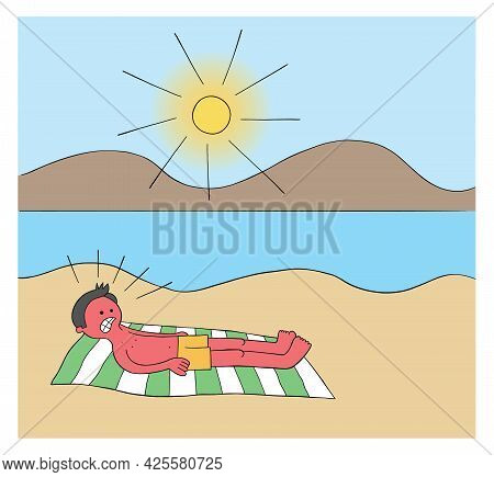 Cartoon Man Sunbathing On The Beach For Hours And When He Wakes Up His Whole Body Is Burnt Red Vecto