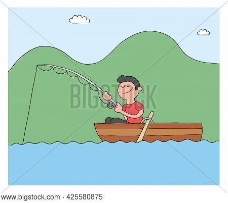 Cartoon Man Fishing With Hook In Boat, Lake Or Sea, Vector Illustration. Colored And Black Outlines.