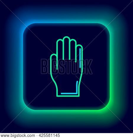 Glowing Neon Line Medical Rubber Gloves Icon Isolated On Black Background. Protective Rubber Gloves.