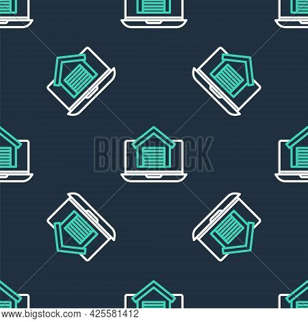 Line Online Real Estate House On Laptop Icon Isolated Seamless Pattern On Black Background. Home Loa