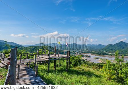 Beautiful Landscape View And Wooden Bridge On Phu Lamduan At Loei Thailand.phu Lamduan Is A New Tour