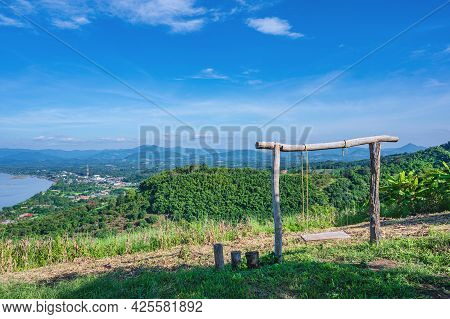 Beautiful Landscape View And Wooden Swing On Phu Lamduan At Loei Thailand.phu Lamduan Is A New Touri