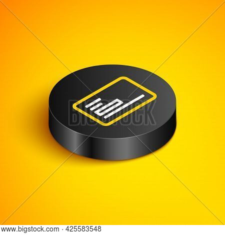 Isometric Line Visiting Card, Business Card Icon Isolated On Yellow Background. Corporate Identity T