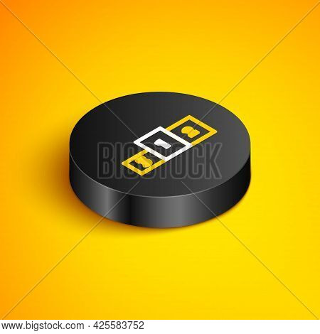 Isometric Line Business Podium Icon Isolated On Yellow Background. Employee Nomination Sign. Person