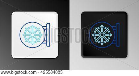 Line Dharma Wheel Icon Isolated On Grey Background. Buddhism Religion Sign. Dharmachakra Symbol. Col
