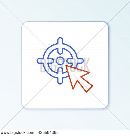Line Target Financial Goal Concept Icon Isolated On White Background. Symbolic Goals Achievement, Su