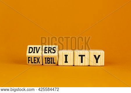 Diversity And Flexibility Symbol. Turned Wooden Cubes And Changed The Word Flexibility To Diversity.