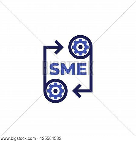 Sme Icon With Gears And Arrows, Vector