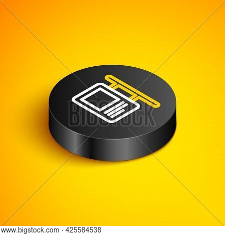 Isometric Line Road Traffic Sign. Signpost Icon Isolated On Yellow Background. Pointer Symbol. Isola